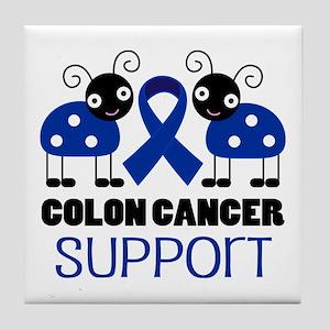 Colon Cancer Support ladybug Tile Coaster