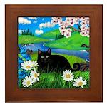 Black cat spring river ceramic tile coater Framed