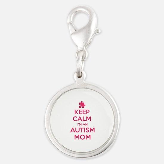 Keep Calm I'm An Autism Mom Silver Round Charm