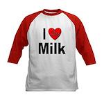 I Love Milk (Front) Kids Baseball Jersey