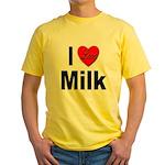 I Love Milk (Front) Yellow T-Shirt
