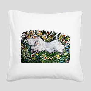 Sealyham in Daffodils Square Canvas Pillow