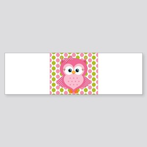 Pink Owl on Pink and Green Bumper Sticker