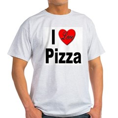 I Love Pizza (Front) Ash Grey T-Shirt
