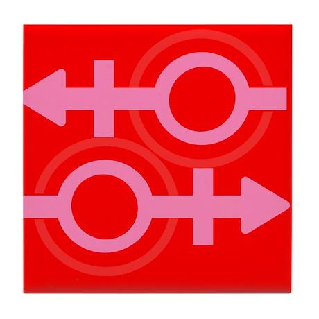 RED EQUAL SIGN Pro Gay Tile Coaster