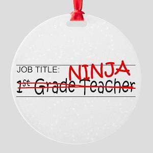 Job Ninja 1st Grade Round Ornament