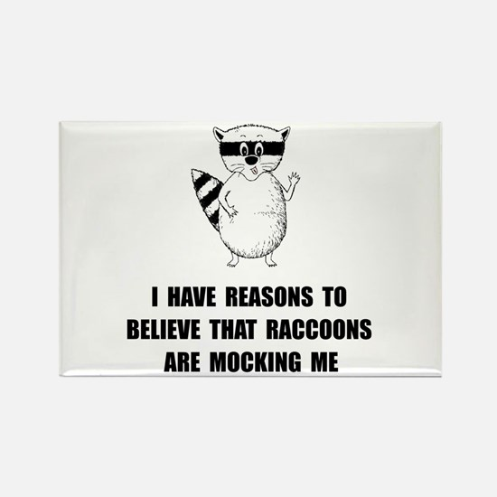 Raccoons Mock Rectangle Magnet (10 pack)