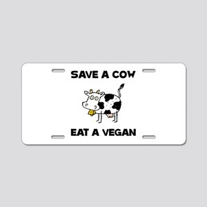 Save Cow Vegan Aluminum License Plate