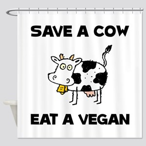 Save Cow Vegan Shower Curtain