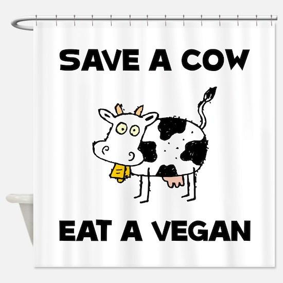 Save Cow Vegan Shower Curtain