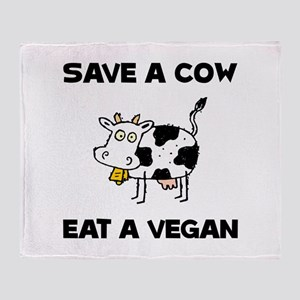 Save Cow Vegan Throw Blanket
