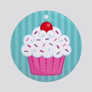 Pink Cupcake on Blue Ornament (Round)