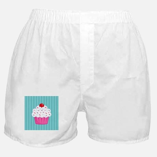Pink Cupcake on Blue Boxer Shorts