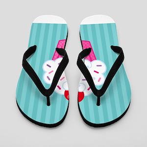Pink Cupcake on Blue Flip Flops