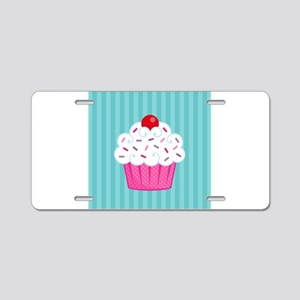 Pink Cupcake on Blue Aluminum License Plate