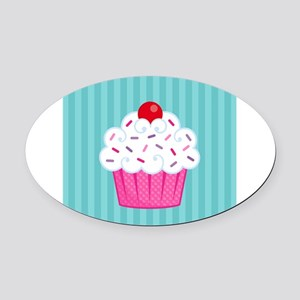 Pink Cupcake on Blue Oval Car Magnet