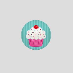 Pink Cupcake on Blue Mini Button