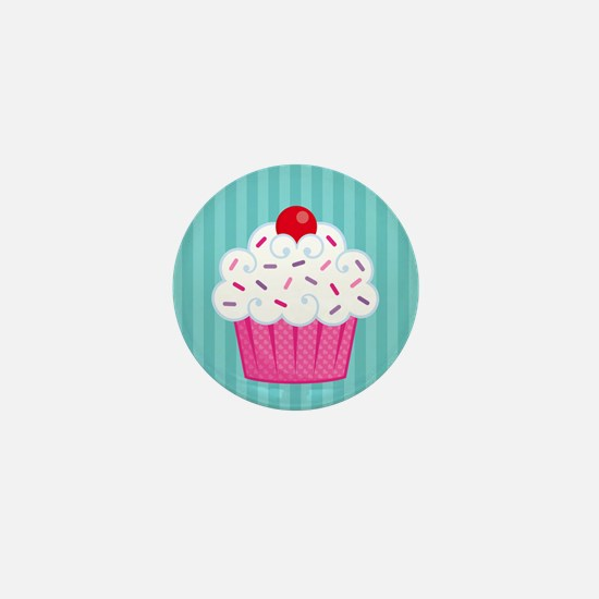 Pink Cupcake on Blue Mini Button