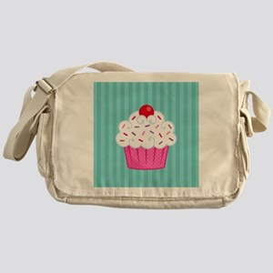 Pink Cupcake on Blue Messenger Bag
