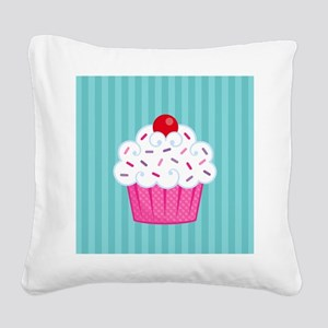 Pink Cupcake on Blue Square Canvas Pillow