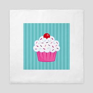 Pink Cupcake on Blue Queen Duvet