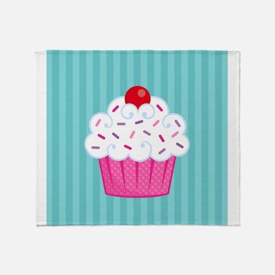 Pink Cupcake on Blue Throw Blanket