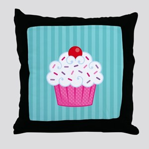 Pink Cupcake on Blue Throw Pillow