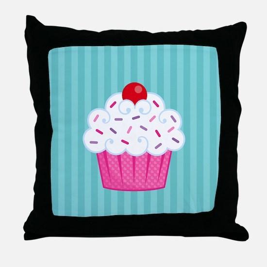 Pink Cupcake on Blue Throw Pillow