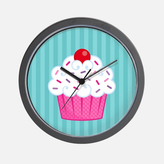 Pink Cupcake on Blue Wall Clock