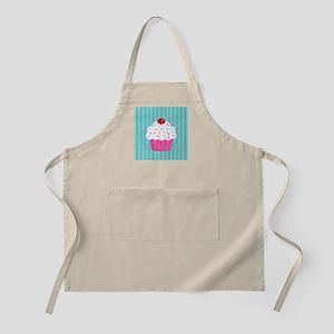 Pink Cupcake on Blue Apron