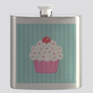Pink Cupcake on Blue Flask