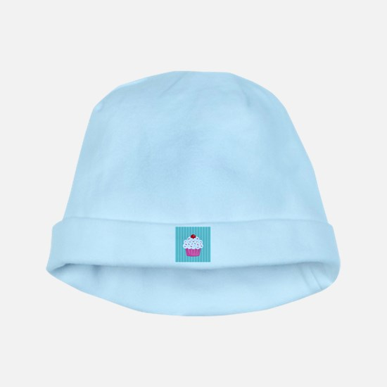 Pink Cupcake on Blue baby hat