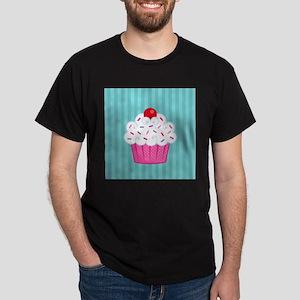 Pink Cupcake on Blue T-Shirt