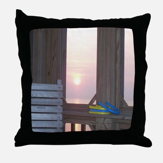 Sunset and Horseshoes Throw Pillow