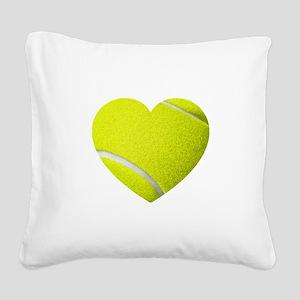 Tennis Heart Square Canvas Pillow