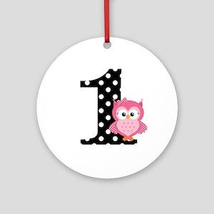 Pink Owl First Birthday Ornament (Round)