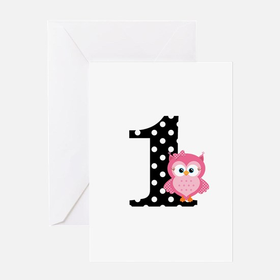 Pink Owl First Birthday Greeting Card