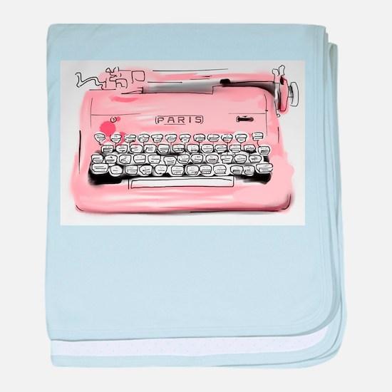 Paris Typewriter baby blanket