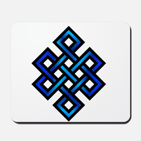 Endless Knot - Blue in Black Mousepad