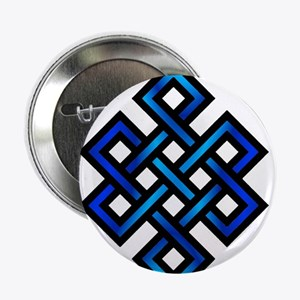 "Endless Knot - Blue in Black 2.25"" Button"