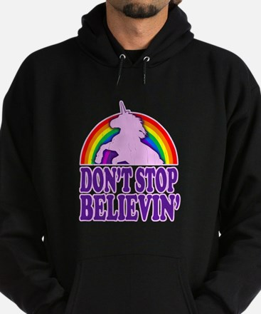 Dont Stop Believin in Unicorns (Distressed) Hoodie