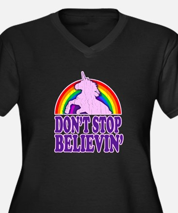 Dont Stop Believin in Unicorns (Distressed) Plus S