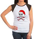 Santa Skull & Crossbones Women's Cap Sleeve T-Shir