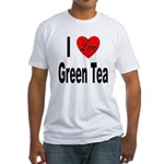 I Love Green Tea (Front) Fitted T-Shirt