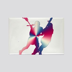 Lacrosse Red White and Blue Rectangle Magnet
