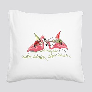 Jousting Gnomes Square Canvas Pillow