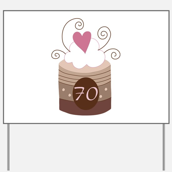 70th Birthday Cupcake Yard Sign