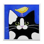 Black & White CAT & Bird Tile Coaster