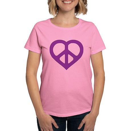 Purple Peace Heart Women's Dark T-Shirt
