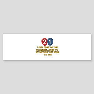 21 year old birthday designs Sticker (Bumper)